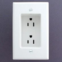 Recessed outlets so that the plugs dont stick out from the wall. Allows furniture to be flat against the wall