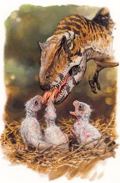 elijahshandseight:  featheredprince:  Allosaurus feeding her chicks, by James Gurney The young are covered with a white coat of downy feathers.  Dinosaurs with tiger-like colour schemes are always awesome