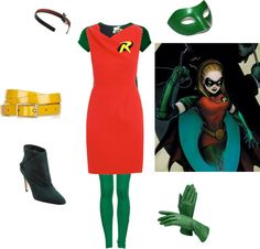 A fashion look from August 2012 featuring navy cocktail dress, scoop neck t shirt and stretch leggings. Browse and shop related looks. Robin Halloween Costume, Robin Cosplay, Stephanie Brown, Diy Costumes, Cosplay Ideas, Nerd, Cute Outfits, Superhero, Shoe Bag