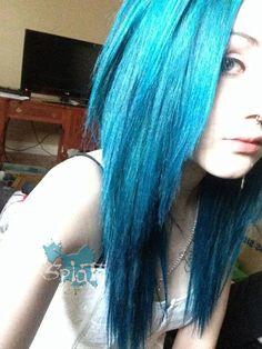 But Tuesday my hair shall look like this Splat Hair Dye, Dyed Hair, Aqua Hair, Def Not, Fancy Hairstyles, Blue Ombre, Hair Makeup, Hair Cuts, Long Hair Styles
