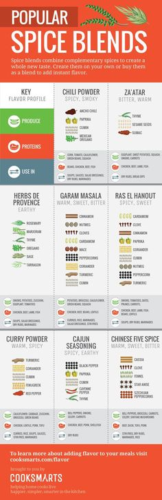 Popular Spice Blends Infographic by Cook Smarts via therealvisually Homemade Spices, Homemade Seasonings, Spice Blends, Spice Mixes, Spice Chart, Cooking Tips, Cooking Recipes, Cooking Steak, Cooking Photos