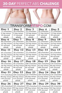 Perfect Abs 30 Day Challenge - One month of workouts to melt belly fat and tone abs! - - Perfect Abs 30 Day Challenge – One month of workouts to melt belly fat and tone abs! Fitness Workouts, Fitness Workout For Women, Yoga Fitness, Fitness Motivation, Ab Workouts, Workouts To Tone, Fitness Quotes, Fitness At Home, Fitness Goals