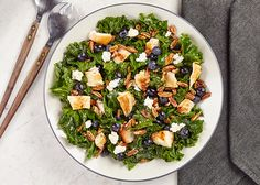 Delicious dinner salad: Kale, Chicken with Blueberries and Pecans. So healthy, so yum.