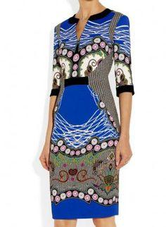 Blue Day Dress - Bqueen Retro V Neck Printed