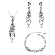 Bridal Jewellery Set White Crystal Teardrop Earrings Necklace & Bracelet S278
