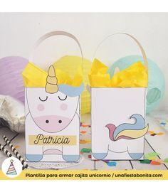Plantilla para armar estas lindas cajitas de #unicornio, ideal para fiestas infantiles