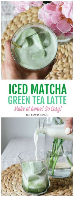 Iced Matcha Green Tea Latte Recipe – Hot Beauty Health This healthy & creamy Iced Matcha Green Tea Latte recipe Bebida Matcha, Matcha Green Tea Latte, Green Tea Recipes, Coffee Recipes, Drink Recipes, Drinking Tea, Vegan, Dairy Free, Gluten Free