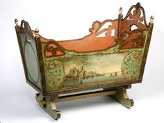 19th century Dutch painted cradle Holland circa 1830 with bucolic pastoral scenes painted on either side.