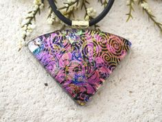 Pink Purple Gold Necklace Dichroic Jewelry Wedge by ccvalenzo