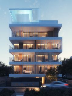 Modern architecture house design with minimalist style and luxury exterior and interior and using the perfect lighting style is inspiration for villas mansions penthouses Architecture Building Design, Modern Architecture House, Building Exterior, Facade Design, Residential Building Design, Residential Architecture, Plano Hotel, Townhouse Exterior, Village House Design