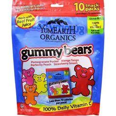 Yummy Earth Gummy Bears - Organic - 10 Snack Packs - .7 oz (Pack of 3)