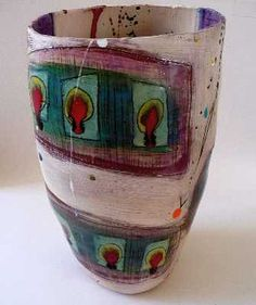 Linda Styles | Tall vessel with 12 dripping red circles on yellow ground and 2 long blue/pink