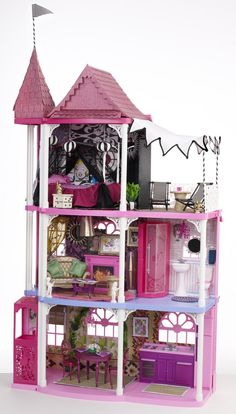 My Barbie Dream House for Mattel.  Hand painted wall paper, original art and furniture.  Glitter Blasted roof (fabricated from cardboard for the sample)