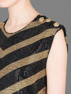 BALMAIN SLEEVELESS MICRO STUDDED TOP WITH BUTTON DETAILING ON ONE SHOULDER