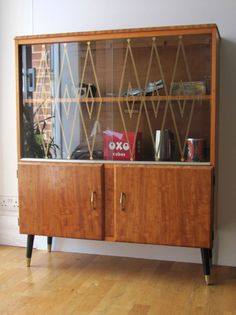 50s satinwood display cabinet, sideboard, case with cupboard.  I could do that design on my 50's cabinet's glass with washi tape....