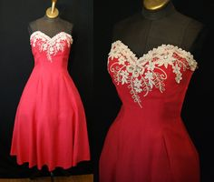 Lovely 1950's coral linen sweetheart strapless new look party dress vlv rockabilly pin up girl prom - size Small to Medium. $425.00, via Etsy.