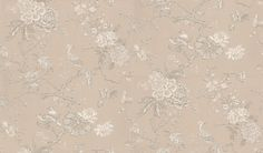 Oriental Bird (BW45029/2) - G P & J Baker Wallpapers - A pretty floral trail with oriental birds and butterfly showing in white and shimmering pearl. 6 colour ways available. Please request a sample for true colour match.