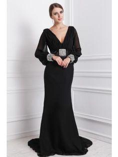 Fashion Sheath/Column V-neck Floor-Length Chiffon Sleeveless Dress