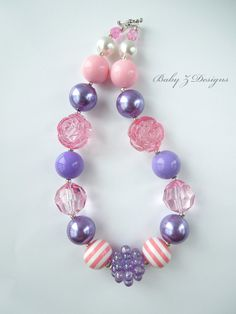 Pink and Purple Chunky Necklace  For Toddlers, Girls, and Teens by babyzdesigns, $18.00