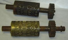 Lg Antique Matched Pair Mills Bro Hard Soft Candy Drop Machine Roller Dies Molds | #372252760