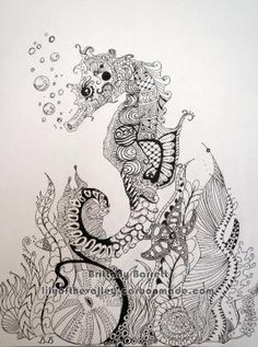 Seahorse Zentangle Design by LilyoftheValleyArt on Etsy, $15.00 by jenny