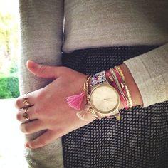 Multiple Bracelets Rings Komono Watch <3