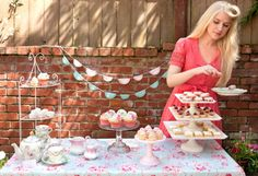 Tea Party.  Could use vintage tablecloths over a solid color cloth.