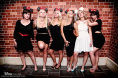 Bridesmaids (the Movie) Disney-style... what a fun day at the park with bridal mouse ears and matching ears for your bridesmaids
