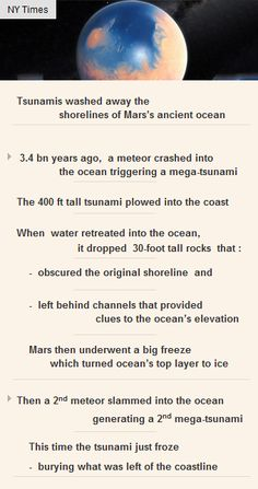 #Tsunamis wiped away the shorelines of Mar's ancient ocean #Mars #science #space #startup #finance http://arzillion.com/S/vnp3Cd