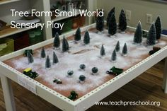 I put together a small world tree farm for my students to explore a little bit of sensory and pretend tree farm play. I wasn't sure if my students would really be all that excited about the idea but to my delight, they absolutely loved it!