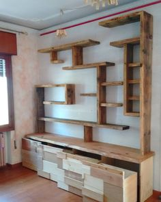 Reclaimed wood and new cherrywood sumisura for ToToall project. #sumisura #woodwork #interiordesign #library # de sumisura2014