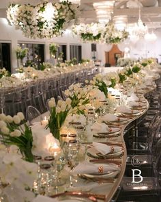 Creating a unique shared seating formation, where our bride and groom were amongst their family and friends. Reflective surfaces, crisp florals and rose gold accents created a perfect ambience for a beautiful night. Tulip Wedding, Elegant Wedding, Our Wedding, Wedding Flowers, Dream Wedding, Wedding Table Centerpieces, Reception Decorations, Event Decor, Wedding Designs
