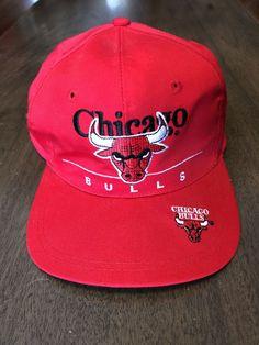 797340245b42c9 Vintage Chicago Bulls NBA Basketball Red Adjustable Throwback Snapback Hat