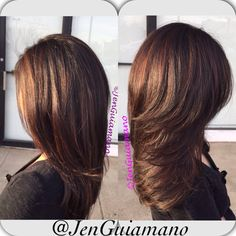 Caramel balayage highlights on black hair with a bouncy blowout. Goldwell Voi Salon East Brunswick, New Jersey