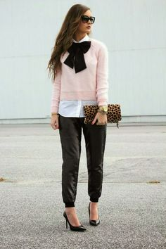 NYE Ready in black, sequin track pants + blush pink sweater w/ black bowtie on www.forallthingslovely.com
