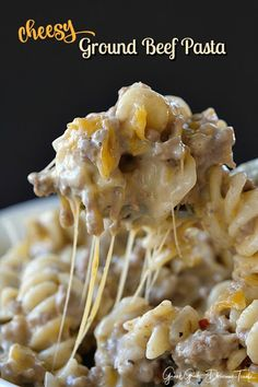 Cheesy Ground Beef Pasta is loaded with cheese, deliciously seasoned ground beef and is an easy dinner recipe. Cheesy Ground Beef Pasta is loaded with cheese, deliciously seasoned ground beef and is an easy dinner recipe. Ground Beef Recipes For Dinner, Dinner With Ground Beef, Casseroles With Ground Beef, Hamburger Meat Recipes Ground, Recipies With Ground Beef, Quick Ground Beef Meals, Ground Beef Crockpot Meals, Ground Beef Recipes Skillet, Easy Casserole Recipes For Dinner Beef