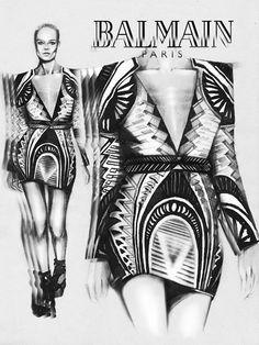 Fashion illustration Balmain by Karina Belikova