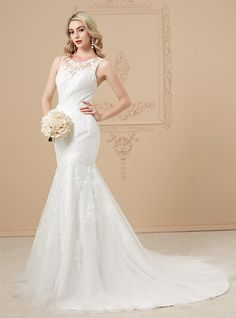 Mermaid / Trumpet Illusion Neckline Court Train Lace Over Tulle Custom Wedding Dresses with Beading Appliques Lace Button by LAN TING - USD $179.99 ! HOT Product! A hot product at an incredible low price is now on sale! Come check it out along with other items like this. Get great discounts, earn Rewards and much more each time you shop with us!