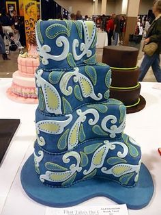 Blue & Green Paisley Cake