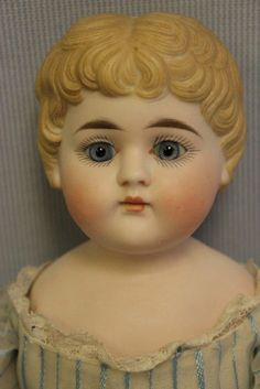 "14-3/4"" Antique Parian c1890 Glass Eyes, Molded Hair, Closed Mouth KLING Doll"