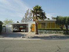 Mid-century modern house in Palm Springs, CA.  Modular steel construction designed by Donald Wexler.  Built around 1962.