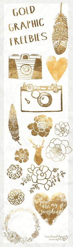 Gold Leaf Digital Graphic Freebies