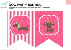DIY Free Doggy Party Pink Bunting - JustLoveDesign