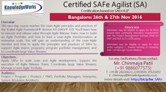 Certified SAFe Agilist (SA) Certification based on SAFe V4.0 Dates : 26th & 27th Nov 2016 @ Bangalore WebURL : http://www.bit.ly/kw_SAFe Contact : Chinmaya S Patil ( 9886077575 )