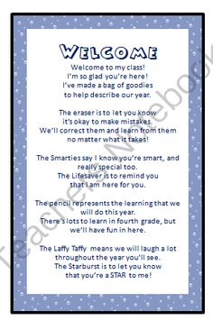 Welcome Open House/Back to School Poem from Salt Life Teachers Shop on TeachersNotebook.com (1 page)  - Welcome to school poem