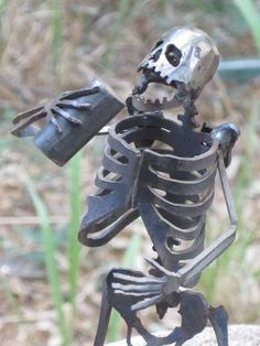Zombie Skeleton Partying Metal Sculpture <3