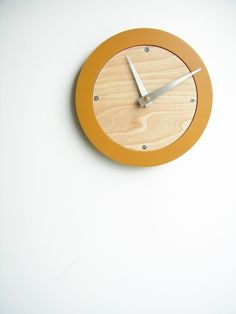 saffron modern wall clock by uncommon on Etsy, $42.00