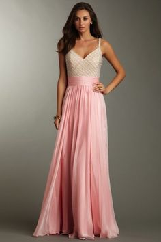 Fab v neck and pretty long pink skirt