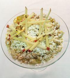Waniliowy ryż na mleku z jabłkami pod kruszonką #intermarche #ryż #mleko #jabłka Pasta Salad, Ethnic Recipes, Food, Crab Pasta Salad, Essen, Meals, Yemek, Eten