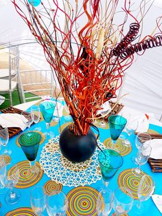 Turquoise blue Venda traditional wedding decor at Shonga Events